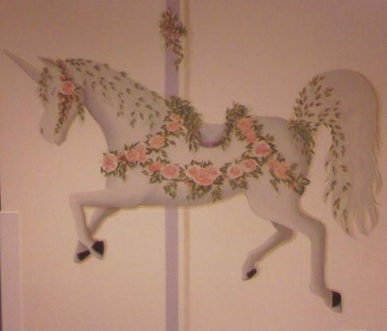 Rose-covered carousel unicorn from Bridgeport Hospital