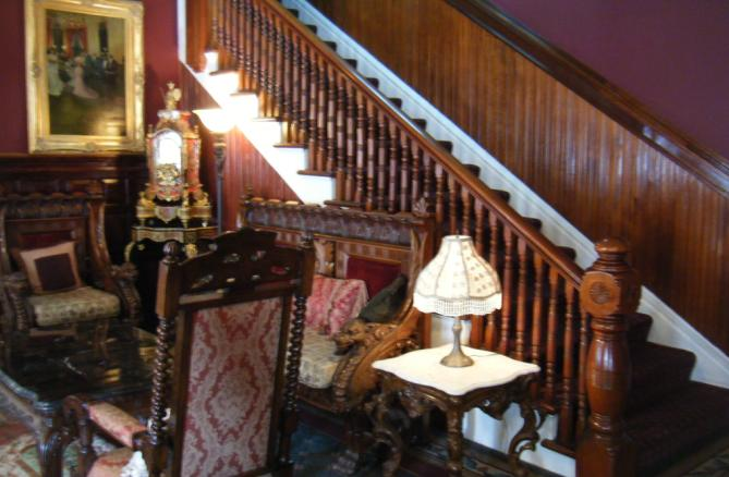 The main stairway in the lobby - an elevator is also available